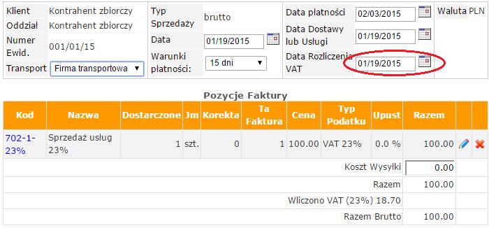 Program księgowosci online dla przedsiębiorstw - zmiana okresu w rejestrze VAT