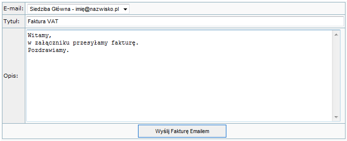 Wysyłanie faktur emailem
